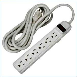 AC 6 outlet power strip - 12 feet - AC power strip: 6 outlets UL switch 12 feet