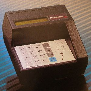 Check Reader--reads bank checks - Check Reader--reads bank checks reliably. Keypad for amount of check and LCD screen for verification