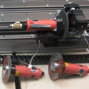 MGR30-MS-80-42 -- Motorized Gripper and Cut-off Saw for BS80 Belt Sliders - example of motorized attachments for our Belt Sliders, customization and modification for your project