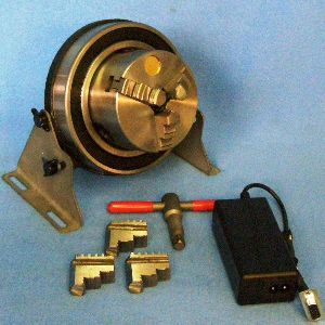 "MRC3 -- 3"" Rotary chuck with X57-40M, 10:1, power supply, USB, cables, FREE USA shipping - Complete ready-to-run heavy-duty 3"" rotary chuck with X57-40M motor/controller for indexing parts for welding, laser, light lathe cutting, and many other applications.  Order the 4.5:1 gear head for more resolution and have both ratios.<br><LI><font bold color=""red"">Free 2-day shipping in USA, 1-day on Fridays</li>"